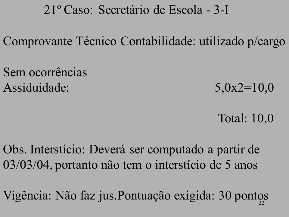 21º Caso: Secretário de Escola - 3-I