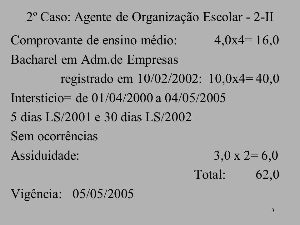 2º Caso: Agente de Organização Escolar - 2-II