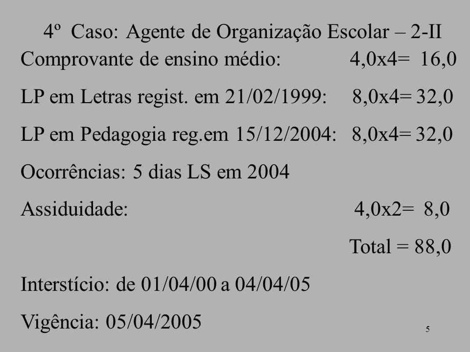 4º Caso: Agente de Organização Escolar – 2-II