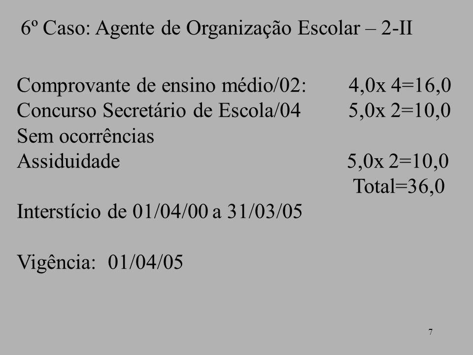 6º Caso: Agente de Organização Escolar – 2-II