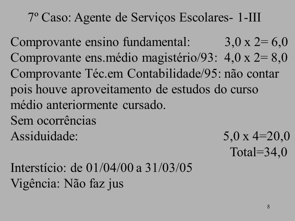 7º Caso: Agente de Serviços Escolares- 1-III