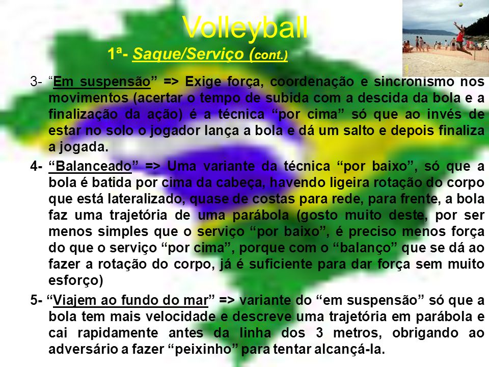 Volleyball 1ª- Saque/Serviço (cont.)