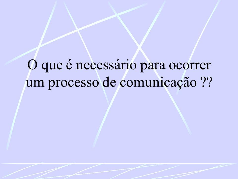 O que é necessário para ocorrer um processo de comunicação
