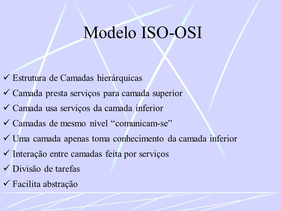 Modelo ISO-OSI  Estrutura de Camadas hierárquicas