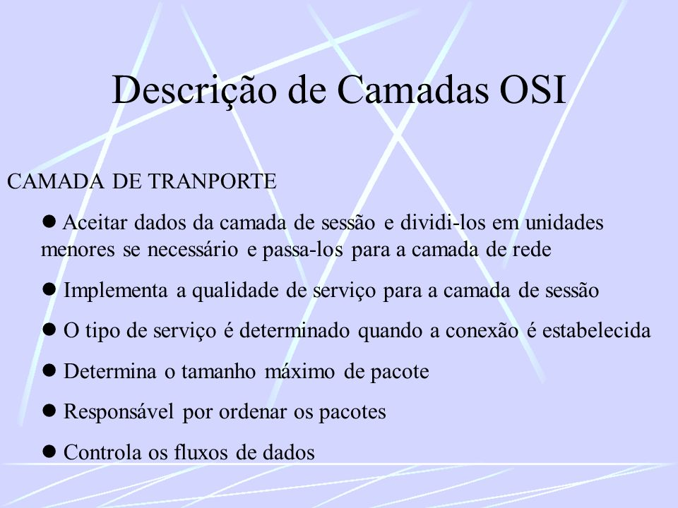 Descrição de Camadas OSI