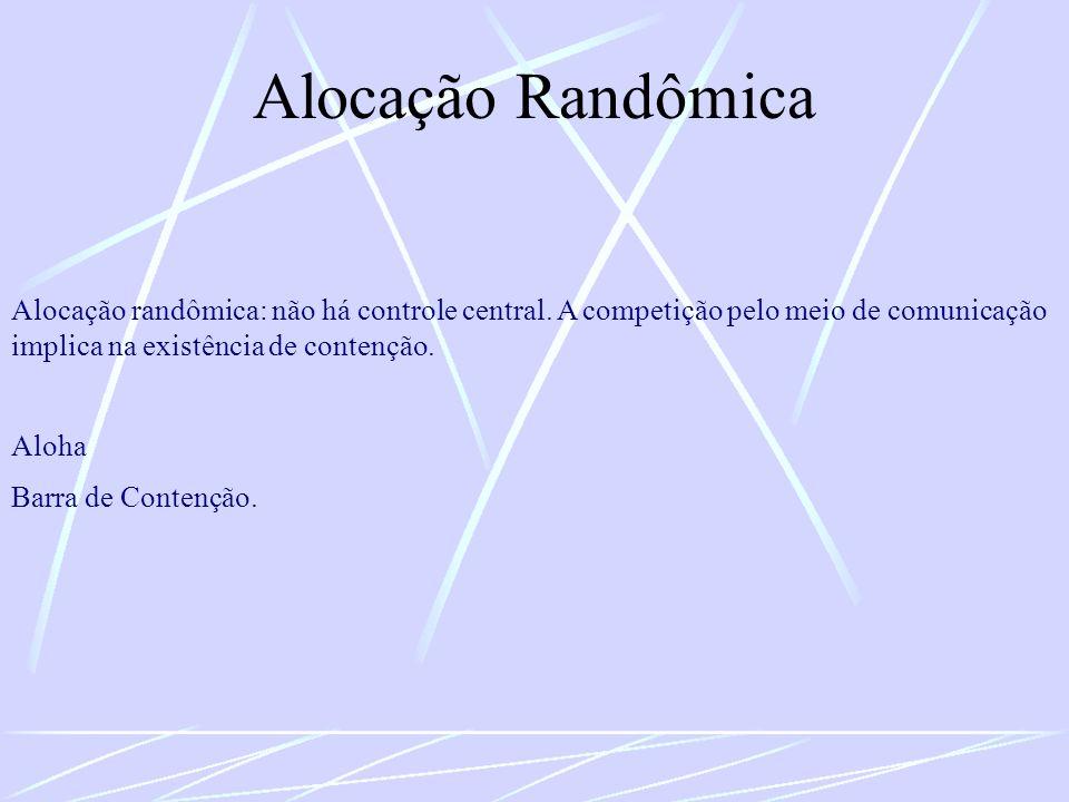 Alocação Randômica Alocação randômica: não há controle central. A competição pelo meio de comunicação implica na existência de contenção.