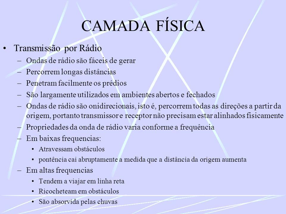 CAMADA FÍSICA Transmissão por Rádio Ondas de rádio são fáceis de gerar