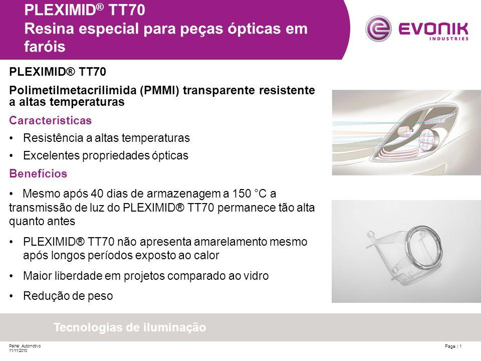 PLEXIMID® TT70 Resina especial para peças ópticas em faróis