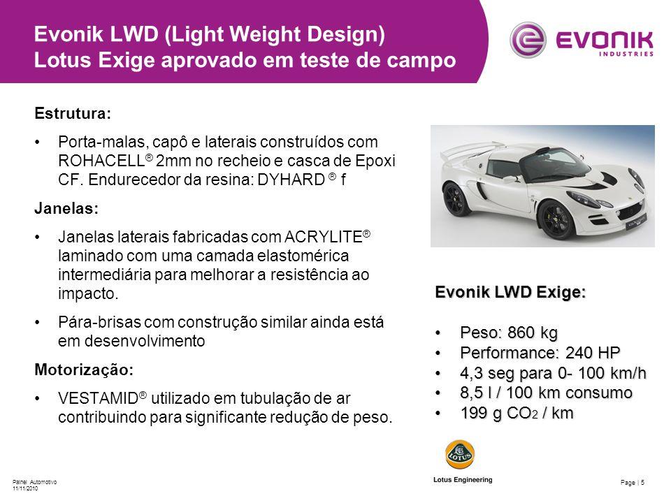 Evonik LWD (Light Weight Design) Lotus Exige aprovado em teste de campo