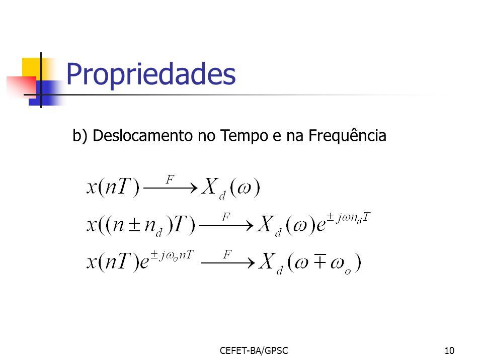 Propriedades b) Deslocamento no Tempo e na Frequência CEFET-BA/GPSC