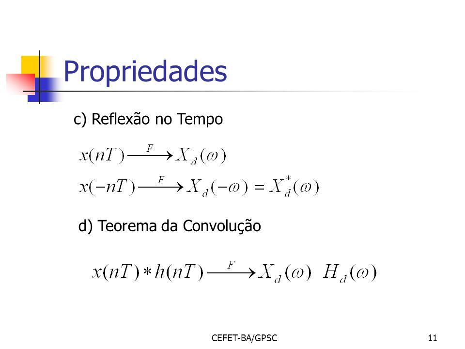 Propriedades c) Reflexão no Tempo d) Teorema da Convolução