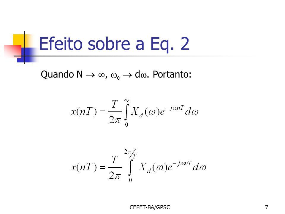 Efeito sobre a Eq. 2 Quando N  , o  d. Portanto: CEFET-BA/GPSC