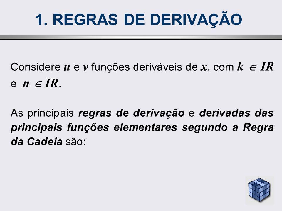 1. REGRAS DE DERIVAÇÃO Considere u e v funções deriváveis de x, com k  IR e n  IR.