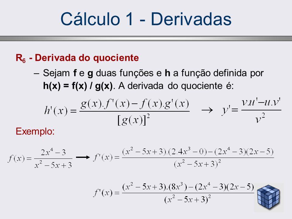 Cálculo 1 - Derivadas R6 - Derivada do quociente
