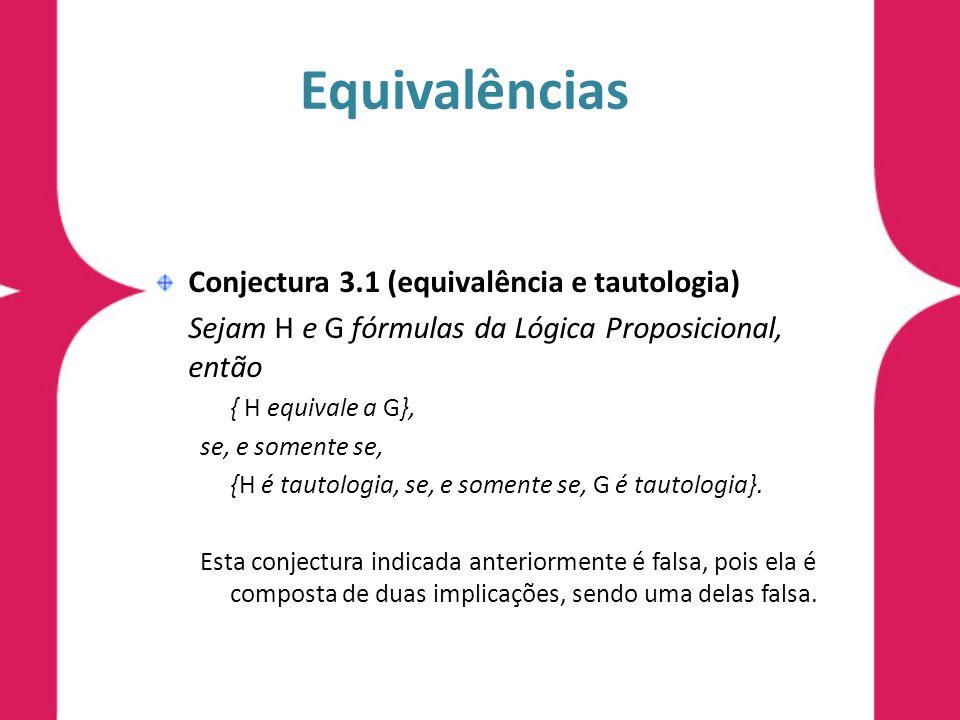 Equivalências Conjectura 3.1 (equivalência e tautologia)
