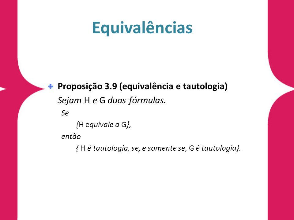 Equivalências Proposição 3.9 (equivalência e tautologia)