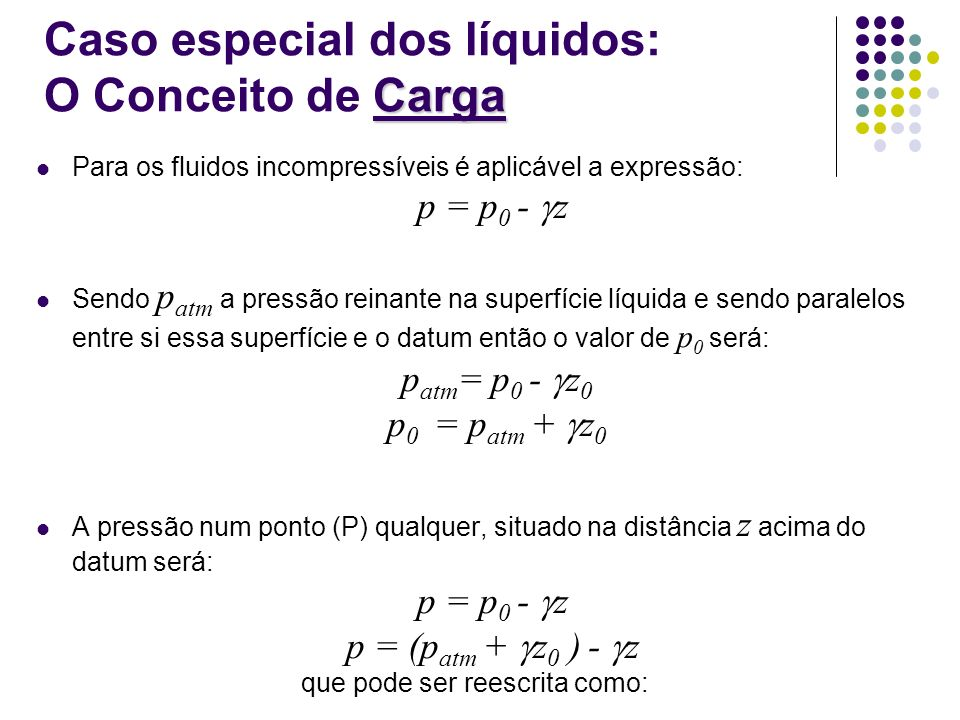 Caso especial dos líquidos: O Conceito de Carga