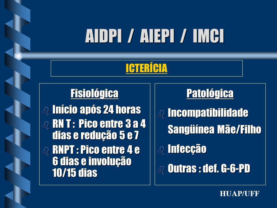 AIDPI / AIEPI / IMCI ICTERÍCIA Fisiológica Início após 24 horas