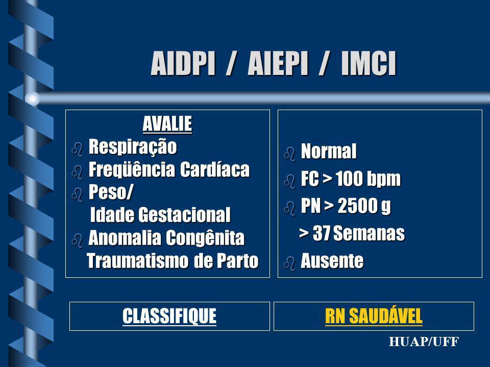 AIDPI / AIEPI / IMCI AVALIE Respiração Freqüência Cardíaca Peso/