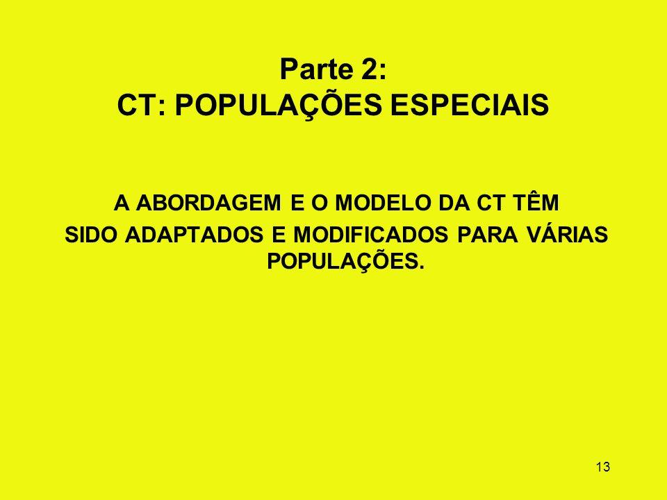 Parte 2: CT: POPULAÇÕES ESPECIAIS