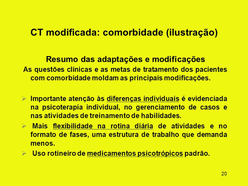 CT modificada: comorbidade (ilustração)