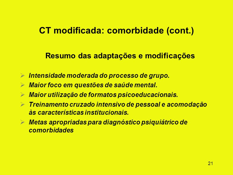CT modificada: comorbidade (cont.)