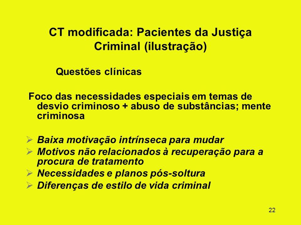 CT modificada: Pacientes da Justiça Criminal (ilustração)