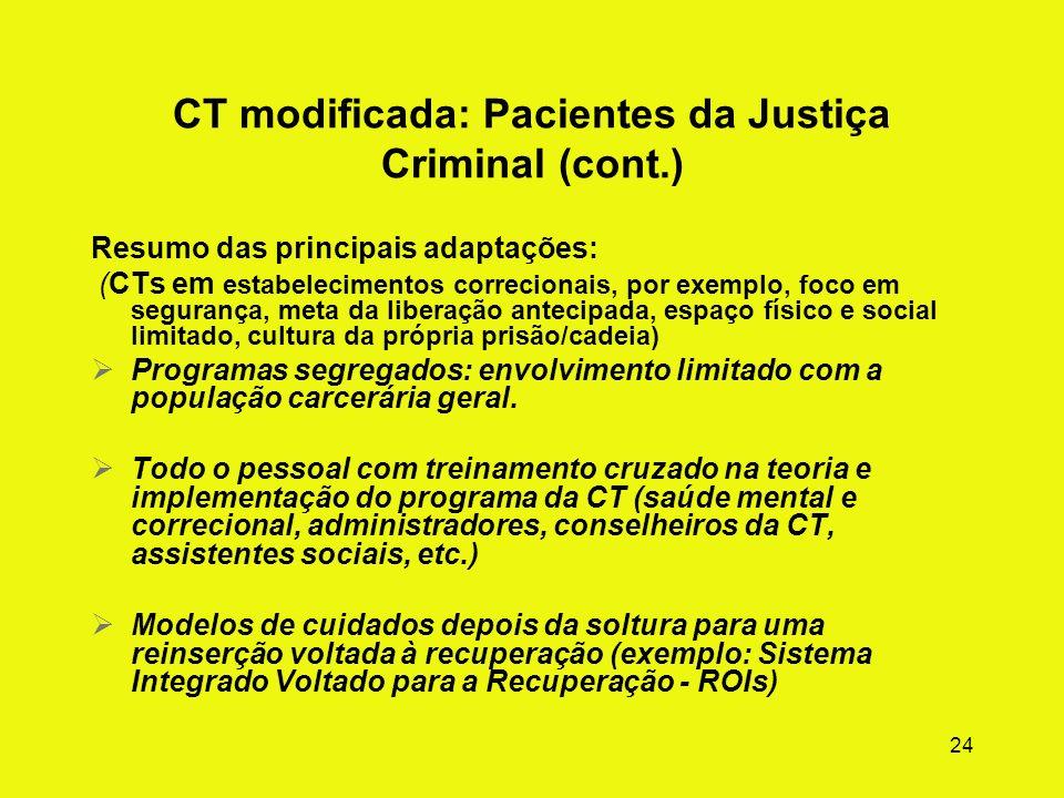 CT modificada: Pacientes da Justiça Criminal (cont.)