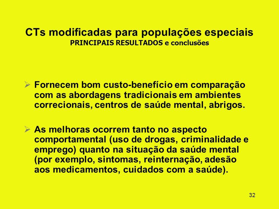 CTs modificadas para populações especiais PRINCIPAIS RESULTADOS e conclusões