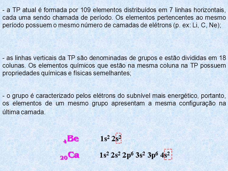 - a TP atual é formada por 109 elementos distribuídos em 7 linhas horizontais, cada uma sendo chamada de período. Os elementos pertencentes ao mesmo período possuem o mesmo número de camadas de elétrons (p. ex: Li, C, Ne);