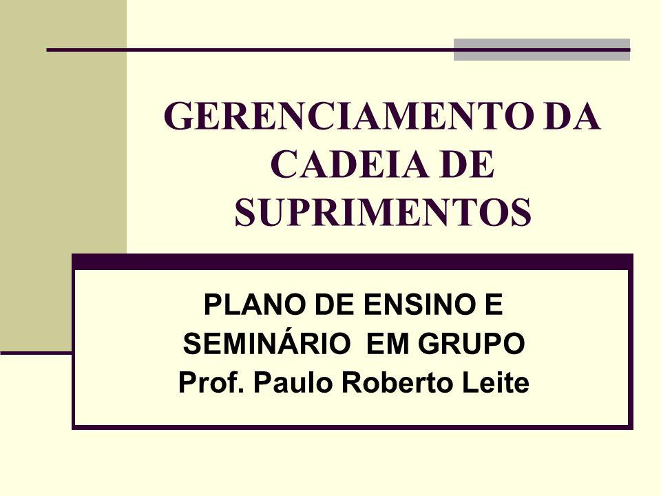 GERENCIAMENTO DA CADEIA DE SUPRIMENTOS