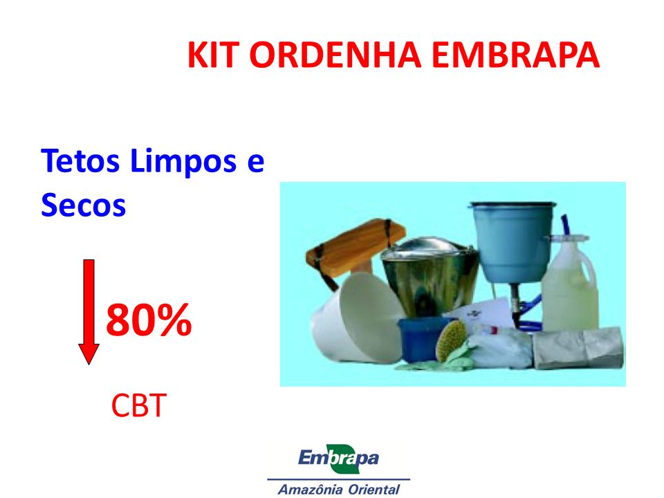KIT ORDENHA EMBRAPA Tetos Limpos e Secos Foto do KIT 80% CBT 1