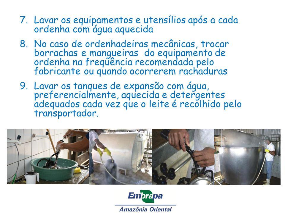 Lavar os equipamentos e utensílios após a cada ordenha com água aquecida
