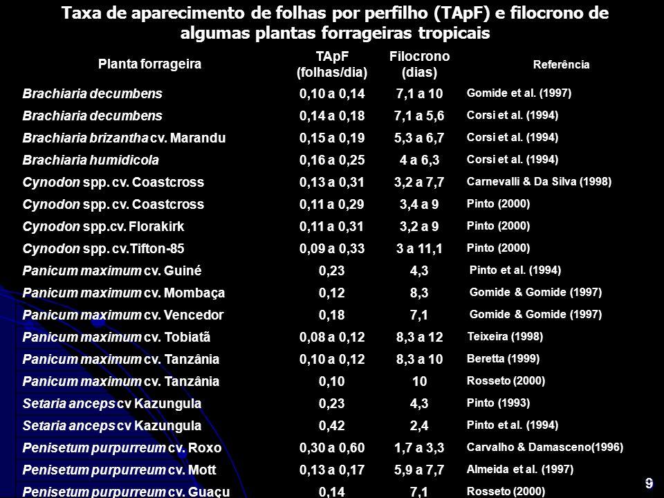 Taxa de aparecimento de folhas por perfilho (TApF) e filocrono de algumas plantas forrageiras tropicais