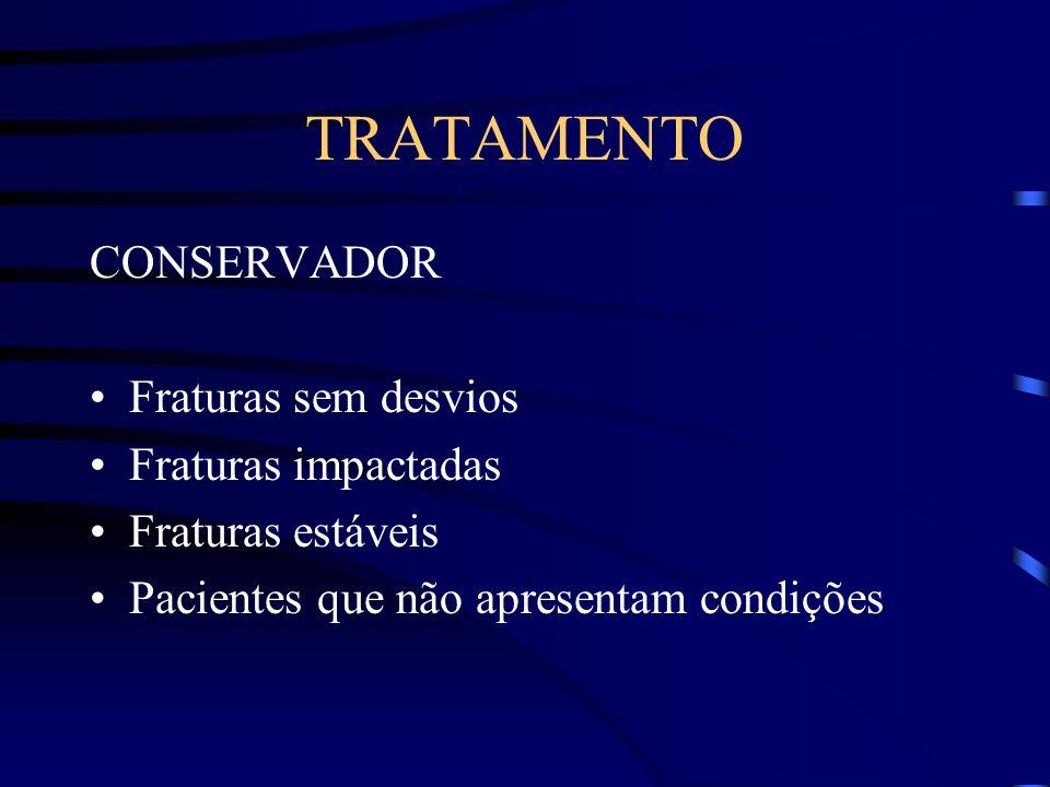 TRATAMENTO CONSERVADOR Fraturas sem desvios Fraturas impactadas