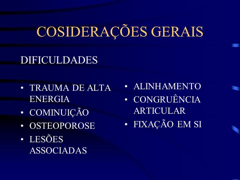 COSIDERAÇÕES GERAIS DIFICULDADES TRAUMA DE ALTA ENERGIA ALINHAMENTO