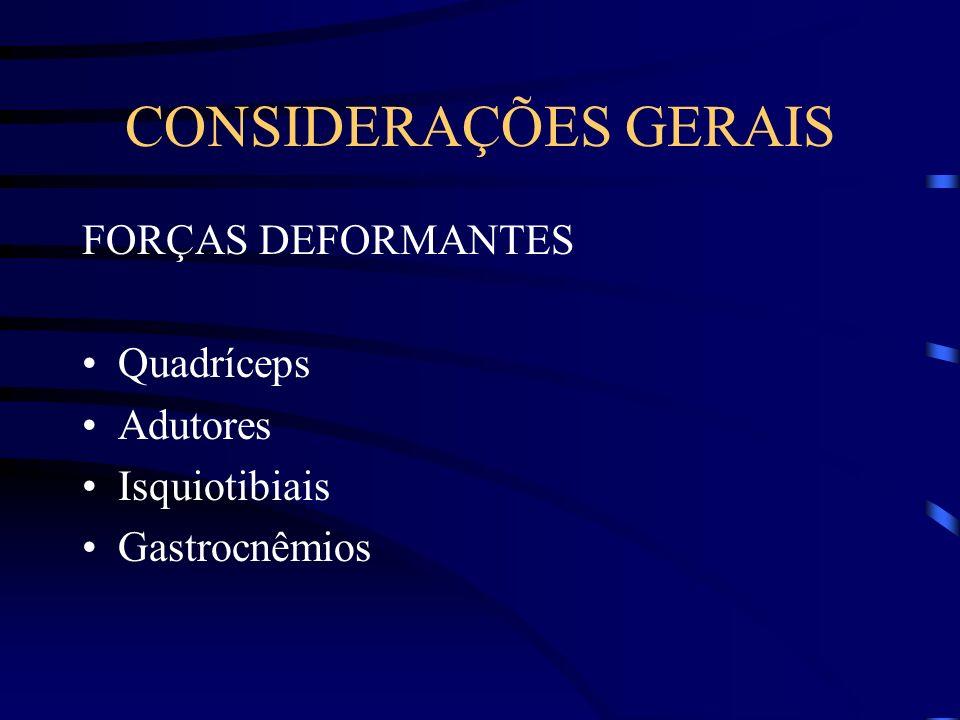 CONSIDERAÇÕES GERAIS FORÇAS DEFORMANTES Quadríceps Adutores