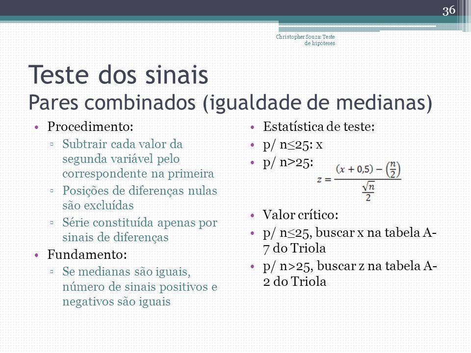 Teste dos sinais Pares combinados (igualdade de medianas)