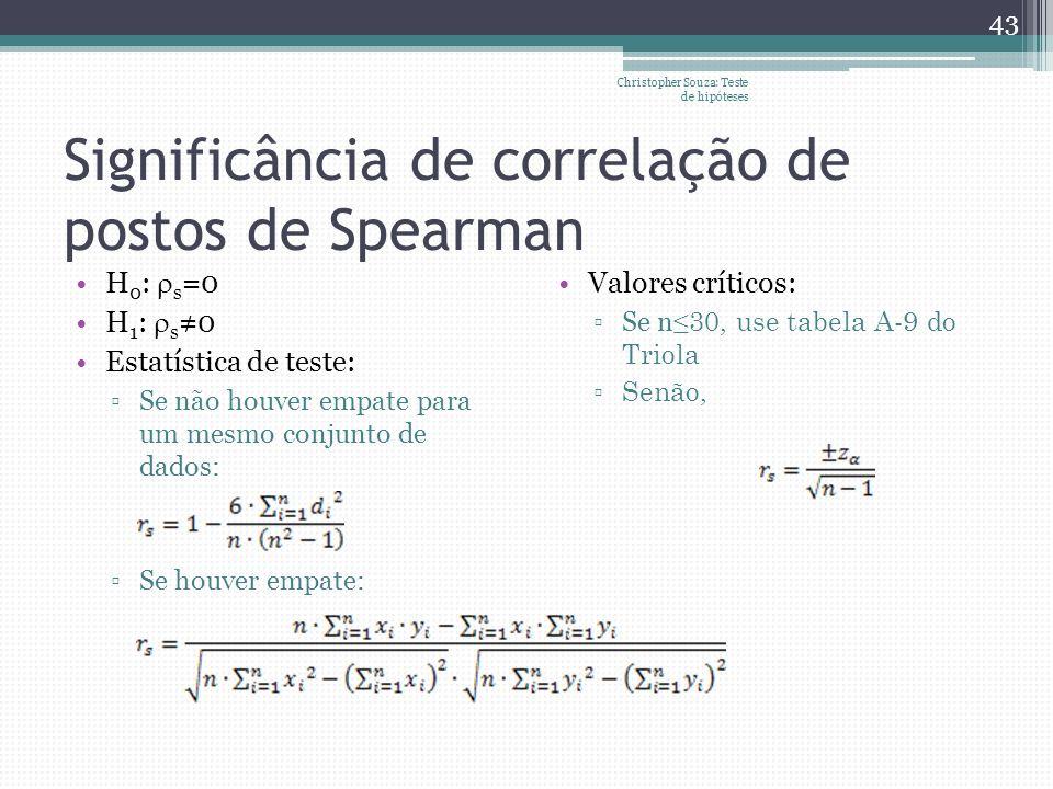Significância de correlação de postos de Spearman