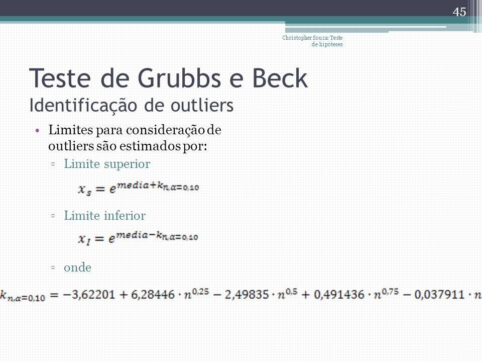 Teste de Grubbs e Beck Identificação de outliers