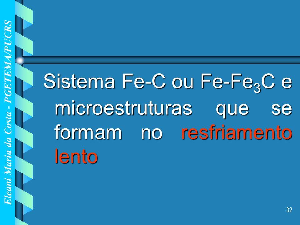 Sistema Fe-C ou Fe-Fe3C e microestruturas que se formam no resfriamento lento