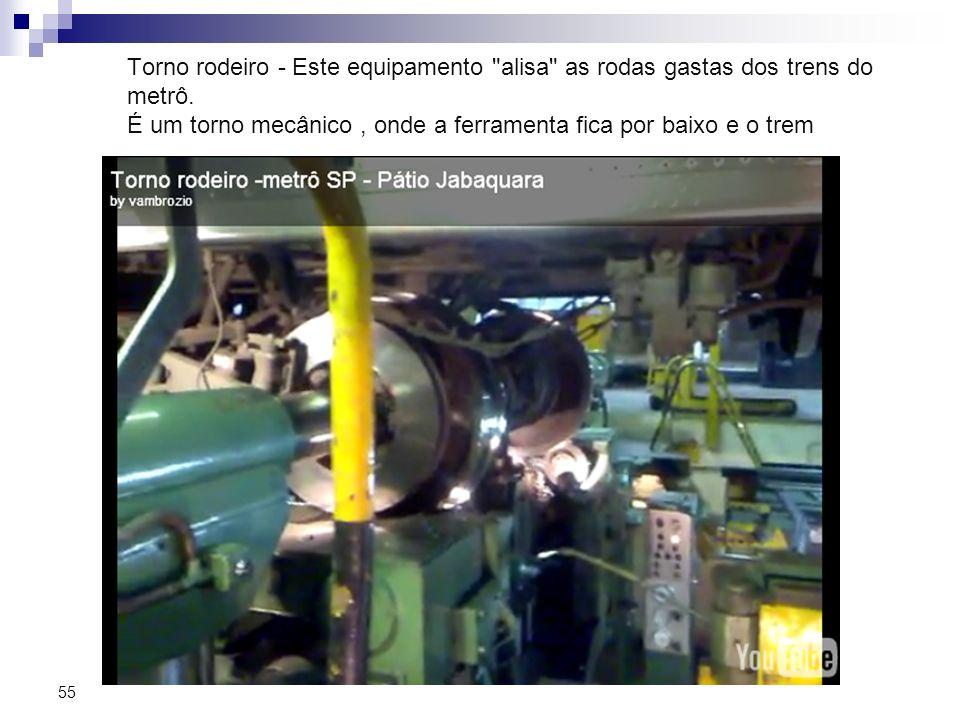 Torno rodeiro - Este equipamento alisa as rodas gastas dos trens do metrô.