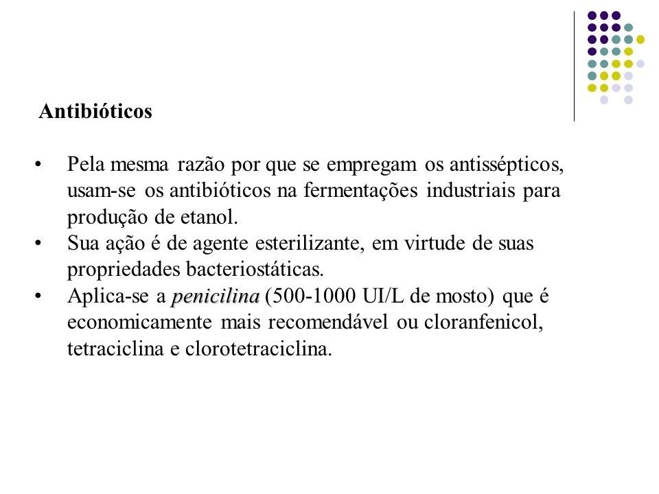Antibióticos Pela mesma razão por que se empregam os antissépticos, usam-se os antibióticos na fermentações industriais para produção de etanol.