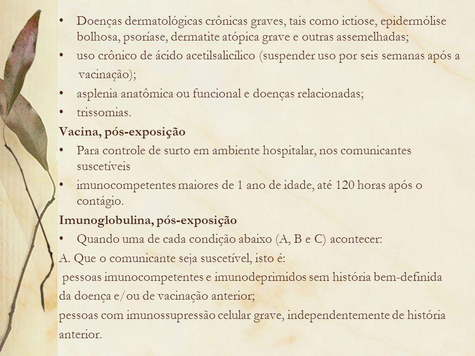 Doenças dermatológicas crônicas graves, tais como ictiose, epidermólise bolhosa, psoríase, dermatite atópica grave e outras assemelhadas;