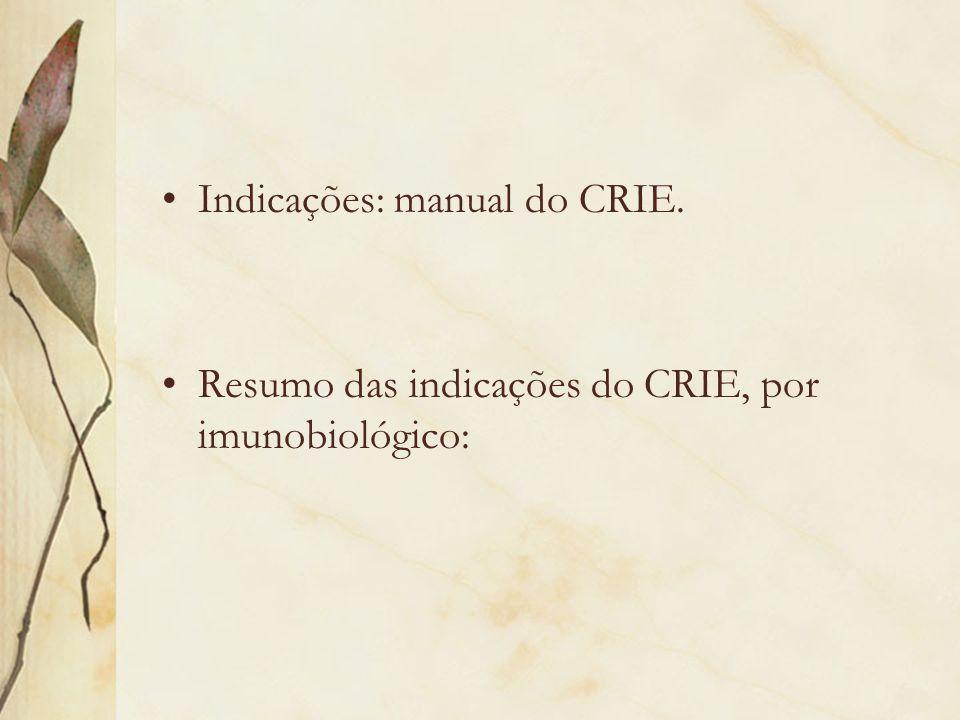 Indicações: manual do CRIE.