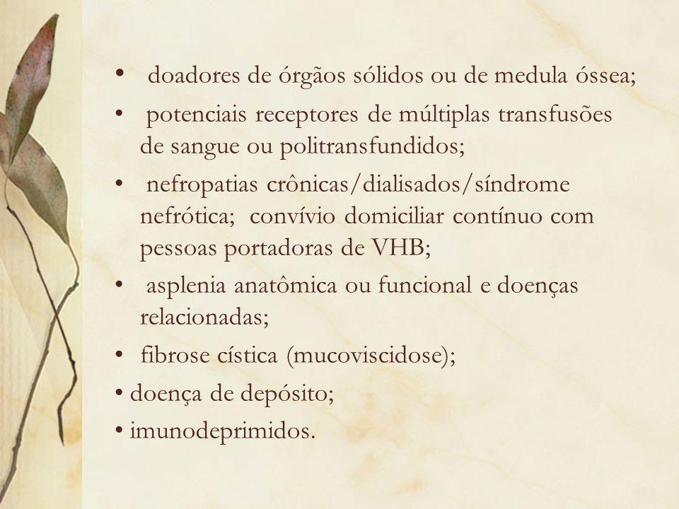 doadores de órgãos sólidos ou de medula óssea;
