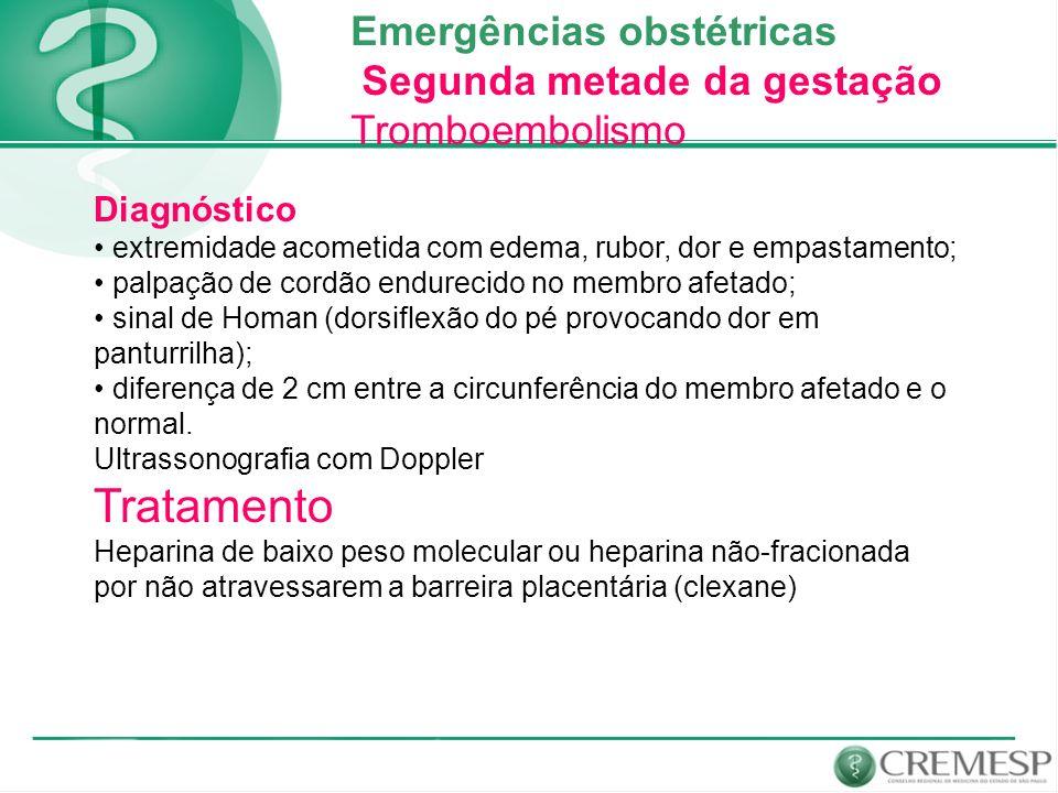 Tratamento Emergências obstétricas Segunda metade da gestação