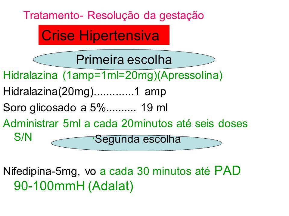 Crise Hipertensiva Primeira escolha Tratamento- Resolução da gestação