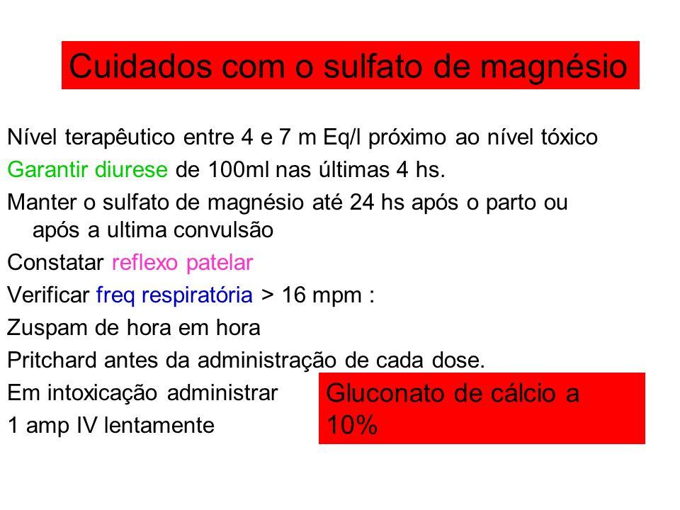 Cuidados com o sulfato de magnésio Gluconato de cálcio a 10%