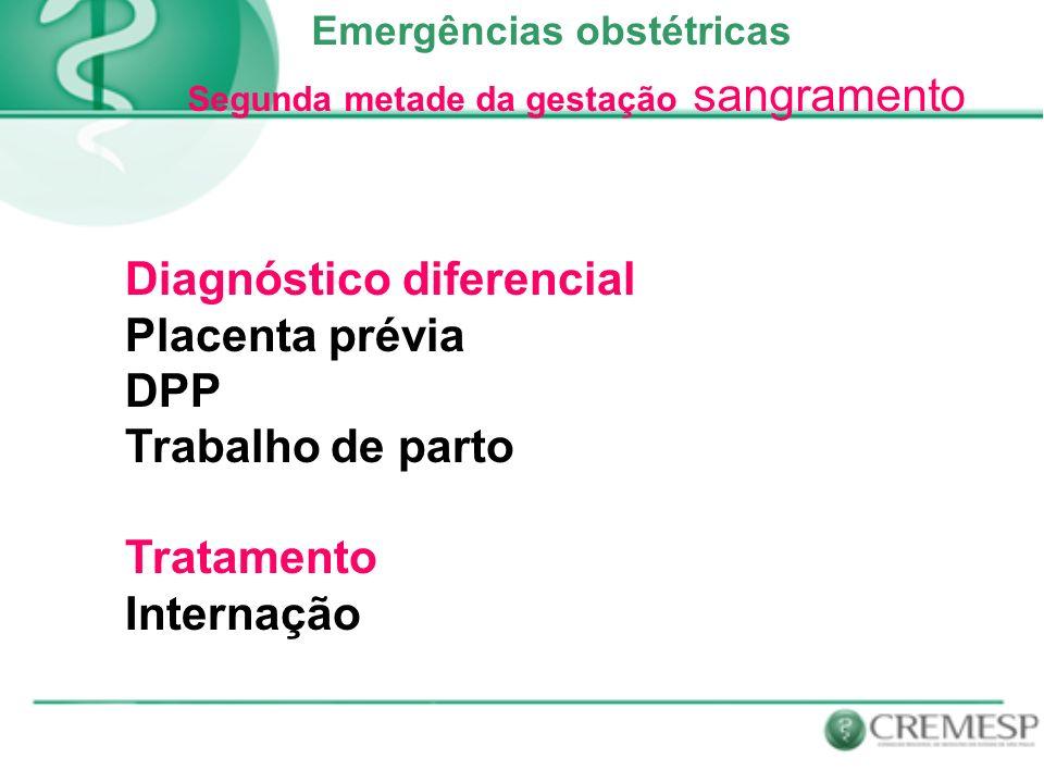 Diagnóstico diferencial Placenta prévia DPP Trabalho de parto